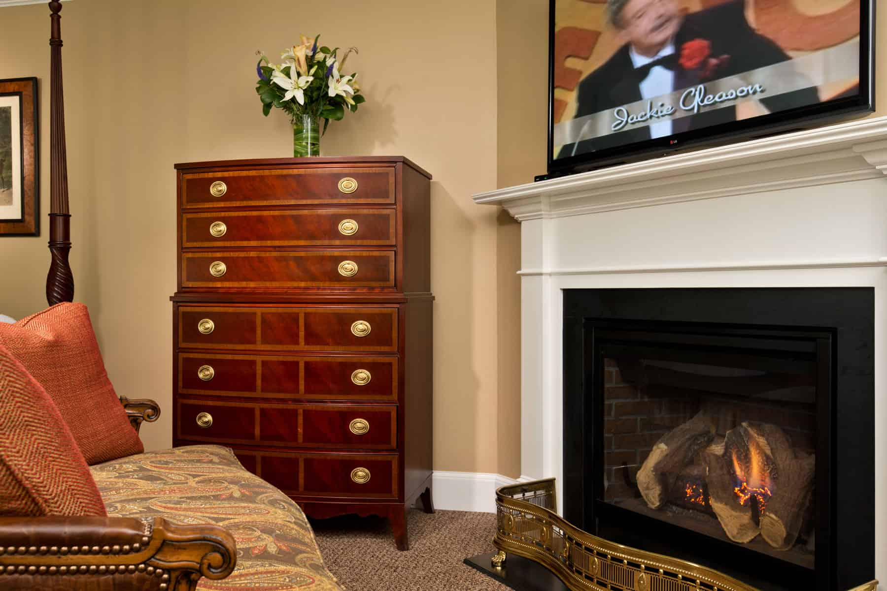 Windward State Room dresser and fireplace